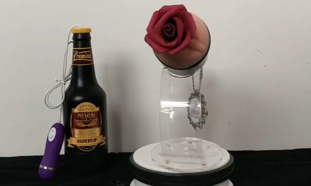 beer bottle shaped realistic vagina silicone pussy masturbation cup