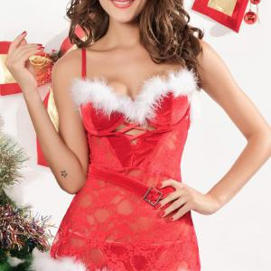 Christmas sexy lingerie wholesale sexy lace halter skirt cosplay lingerie pajamas ladies Thong lingerie set