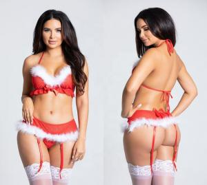 Cute Bowknot Decoration Red Sexy Ladies Lingerie Christmas Cosplay Costume Woman Bra Brief Sets
