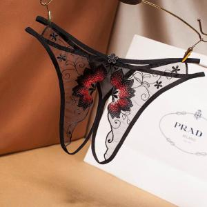 Flower pattern gauze see-through sexy lace underwear sex appeal thong