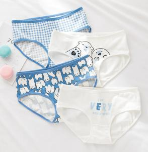 Hot sale girl cute printing sea bear cotton women panty 0748