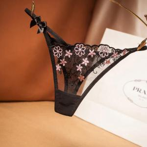 Sexy Lace Lingerie Underwear Women's Erotic With Embroidery Women's Thongs 2020
