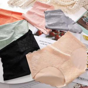 Thai latex underwear sexy solid color seamless crotch waist ice women's lace panty
