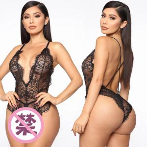 Transparent lingerie Ladies sexy lingerie revealing nipple jumpsuit lace deep V  nightwear for women