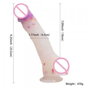 8inch silicone dildo colorful spot dildo huge rainbow dildos with strong suction cup