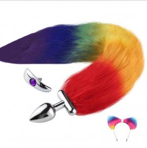 Adult Products Cosplay Sex Game Metal Anal Plug with Fake Fur Cat Ear Fox Dog Tail Removeable Replaceable Butt Plug Anus Toys