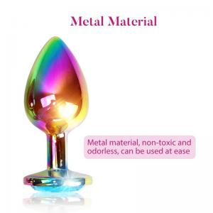 Adult Sex Toy Shiny Metallic Color Stainless Steel Anal Plug S/M/L Anal Expand Crystal Jeweled Butt Anal Plug