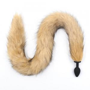 Brown Color Long Tail Smooth Silicone Black Anal Butt Plug Fox Tail Anus Expansion SM Cosplay Sex Toys Anal Butt Plug