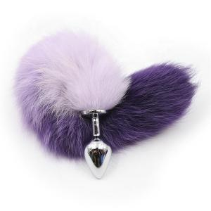 Crazy Selling Colorful Faux Fox Fur Tail Anal Plug Butt Plug Fetish Slave Sex toys for Couple Metal Butt Plug