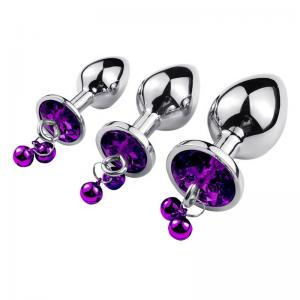 Heart shaped Colorful Crystal Anus Expansion Metal Anal Butt Plug with little Bell Metal Chains Leash Anal Plug Sex Women Toys