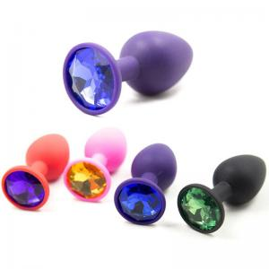Small Silicone Butt Plug with Crystal Jewelry Smooth Touch Anal Bead Plug No Vibration Anal Trainer Sex Toys for Woman Men Gay