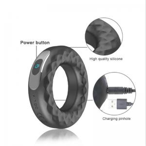 Strong Vibrating Cock Ring Delayed Ejaculation Waterproof Silicone Penis Ring